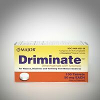 DRIMINATE 50mg for Motion Sickness (generic DRAMAMINE) by Major - 100 Tablets