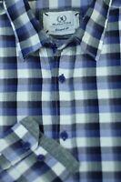 Bugatchi Uomo Men's Purple White Check Cotton Casual Shirt L Large