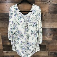 Torrid Women's Cream Purple Floral V-neck Bell Sleeve Lace Up Back Top Size 3XL