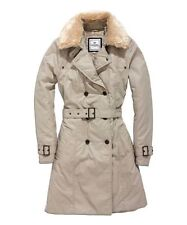 TIMEOUT  Womens Olive Fur Collar Trench Coat Outerwear Size 38