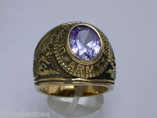 12X10 mm United States Army Military June Lt. Amethyst CZ Stone Men Ring Size 9