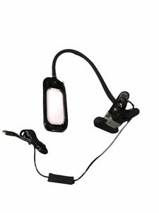 Clip On LED Light | Flexible | Black | 3 Settings | USB | Reading | Dorm | Bed
