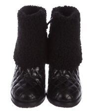 REDUCED! CHANEL BOOTS Black quilted leather and shearling 37/IT (6.5)