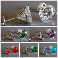 6 Colors Elegant Srud Earrings Women 925 Silver Jewelry Cubic Zircon A Pair/set