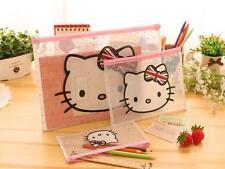 3pcs Pink Hello Kitty A4 Pencil Bag Office Notes Check Files Bag Organizer