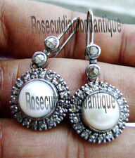 Pearl Dangle Earrings Antique Victorian Style 1.40ct Rose Cut Diamond Silver 925