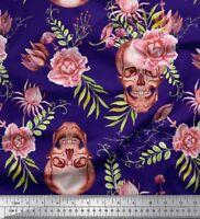 Soimoi Fabric Skull & Begonia Floral Fabric Prints By Yard - FL-312C