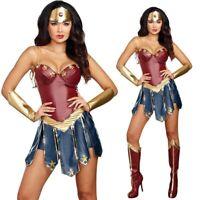 Adult Superhero Wonder Woman Cosplay Costume Halloween Party Ladies Fancy Dress