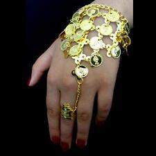 Bollywood Bauchtanz Belly Dance Handschmuck Sklavenarmband Goldmünzen Ring