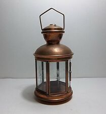 "Vintage Turkish Copper Candle LANTERN Etched Glass 8.75"""