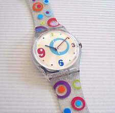 FRIANDISE! Swatch ABSTRACT CIRCLES Silver Glitter Watch! NIB-RARE!