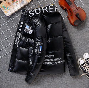 Men Hooded Coat Jacket Parka Puffer Padded Quilted Shiny Winter Warm jacket