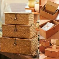 Woven Storage Basket Lid Rattan Sundries Classic Seagrass Wicker Box Organizers