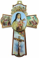 Saint St Therese of Lisieux Little Flower Icon, Cherub Angels Wall Cross, 6 Inch