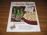 1954 Print Ad Seven Up Soda Pop Bottles of 7UP & Bowl of Popcorn