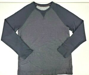 Orvis Classic Collection Mens Long Sleeve Black Gray Crew Neck T Shirt Size M