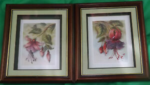 Pair Of Red Purple Orchid Fuschia Floral Decoupage 3D Pictures Signed Rob Pohl