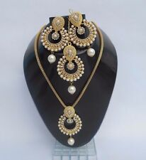 Designer Bollywood Kundan Polki Gold Plated Pearl Jewellery Bridal set 5