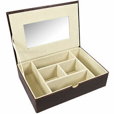 Large Brown Faux Leather Jewellery Storage Box & Mirror Watch Organiser Case
