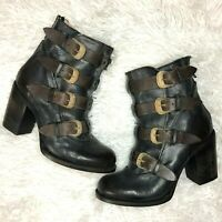 NEW FREEBIRD BY STEVEN BATES COGNAC DISTRESSED BOOTIES BLK ANKLE BOOTS $295 SZ 9