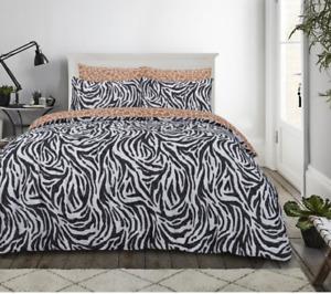 Sleepdown Zebra Print Monochrome Duvet Set - Double And King