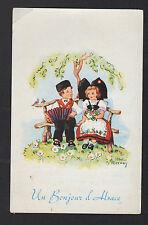BONJOUR D'ALSACE / COUPLE ALSACIEN avec accordéon ,,, illustré par A. BERNOY