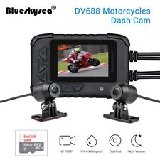 """Motorcycle DV688 Camera DVR 130° Wide Angle 2.4"""" LCD Front+Back Lens +64GB Card"""