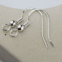 100Pcs Sterling Silver Earring Fish Hooks Ear wires Findings With Ball fd