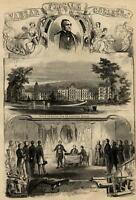 Matthew Vassar female college campus architecture portrait 1861 Harper's print