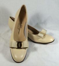Salvatore Ferragamo Boutique Womens Ladies Bisque Cream Leather Pumps Size 8 4A