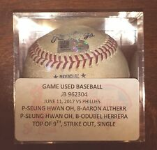 Seung Hwan Oh St. Louis Cardinals Game Used Strikeout Baseball MLB HOLO