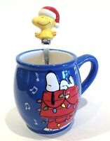 Snoopy Woodstock Peanuts Christmas 10oz. Coffee/Chocolate Ceramic Cup With Spoon
