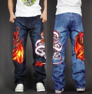 Men's Skate Baggy Loose Rap Hip Hop Jeans Denim Print Trousers Long Pants D15E