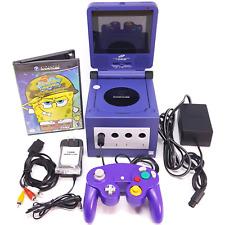 Nintendo GameCube Purple Indigo Console DOL-001 + Intec Screen + Spongebob Game