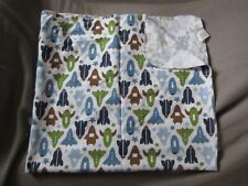 COTTON FLANNEL VTG BABY RECEIVING BLANKET DWELL STUDIO GREEN BLUE BROWN ROCKET