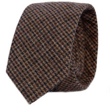 Luxury Gentlemens Country Brown Houndstooth Tie Tweed Woven Wool Style Tartan