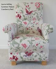 Laura Ashley Summer Palace Cranberry Red Fabric Chair Nursery Birds Armchair New
