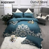 Luxury Egyptian Cotton Silk  Bedding Set 4Pcs Bed Sheet Duvet Cover Pillowcases