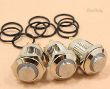3Pcs LED Metal Momentary Push Button Switch 4Pin 12mm 3V Red/Green/Blue