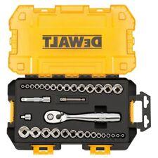 DEWALT 34 Piece Socket Set 1/4 3/8 in Drive Ratchet Metric SAE 6 Point Socket