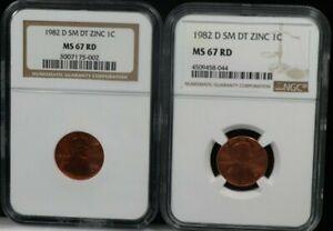 1982 D 1C SM DT ZINC 1C NGC MS67 RD SET OF 2