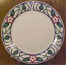 Pfaltzgraff Arbor Vine Dinner Plate Stoneware Red Flowers Leaves Blue Scrolls