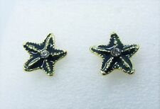 Blue Green Starfish Marine Sealife Stud Earrings White Gemstone Gold Plated