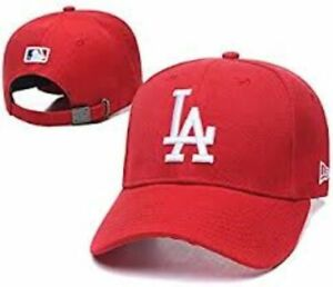 New Era Los Angeles Dodgers Adjustable Adults Baseball Cap Red With White Logo