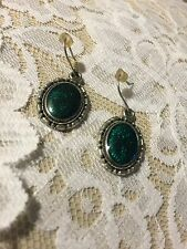 Grandmas Estate Jewelry  Faux Malachite Pierced Earring (Mia)