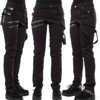 Women Street Fashion Multi-zipper Cargo Pants Casual Buckle Trousers Occident D
