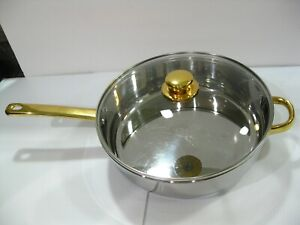 """Cuisine Command Performance Gold 11"""" Skillet 18/10 Stainless Steel & Lid"""