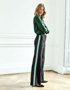 BODEN Sherborne Side Stripe Trousers Black With Stripe T0239 RRP £120 NEW UK 14P