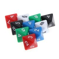 10pcs 8 Sided Acrylic Number Dice Family Party Bar Board Game DND Accessories