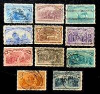 1893 US Stamps SC#230-240 1c to 50c Columbian Exposition Short Set CV:$411